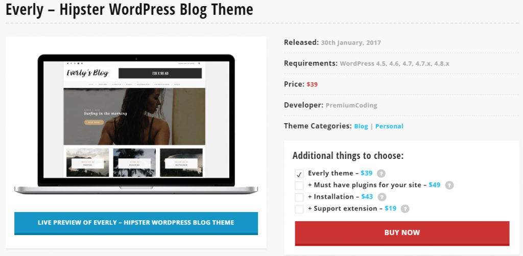 Everly – Hipster WordPress Blogger Themes 2017