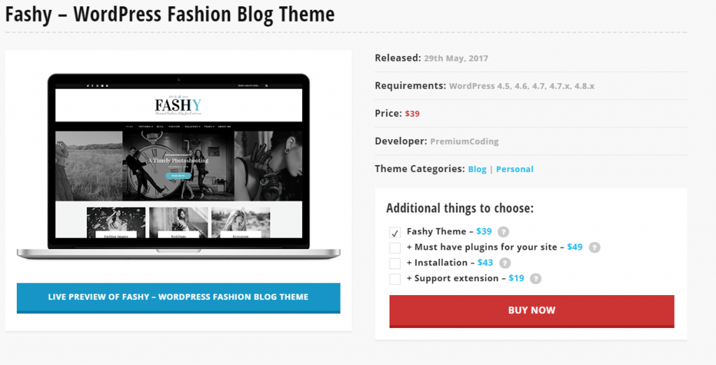 Fashy – WordPress Fashion Blogger Themes in 2017