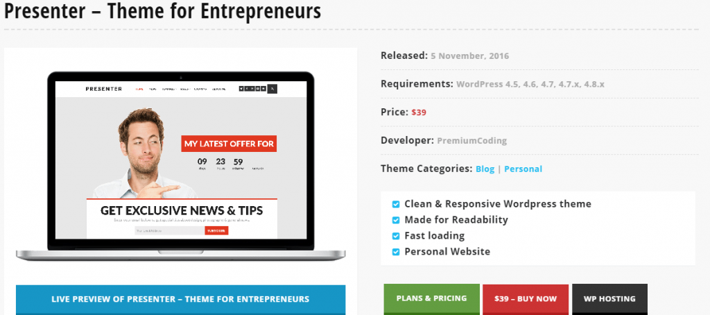 Presenter – Blogger Themes for Entrepreneurs