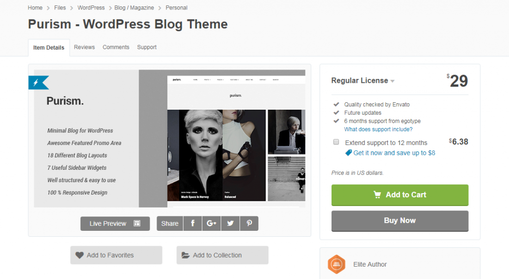 purism wordpress blogger themes