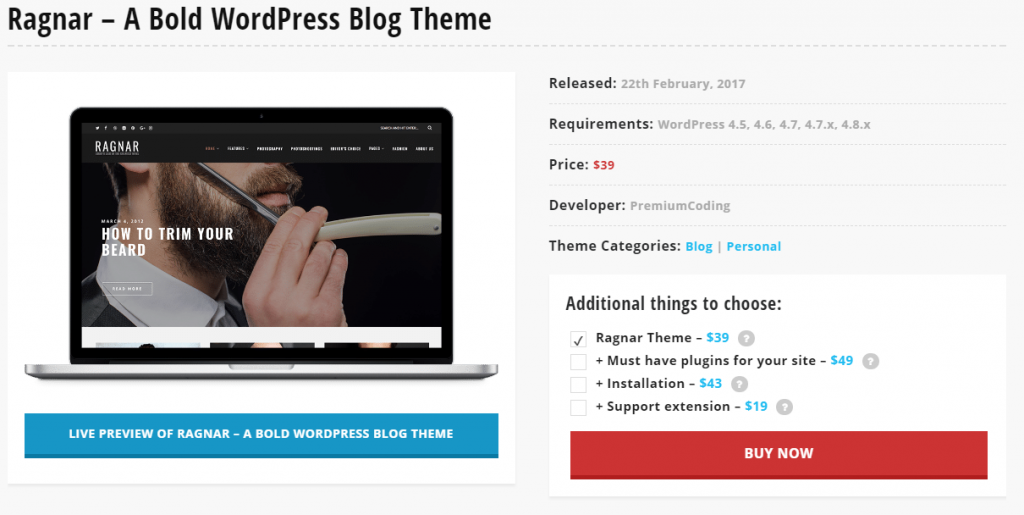 Ragnar – A Bold WordPress Blogger Themes